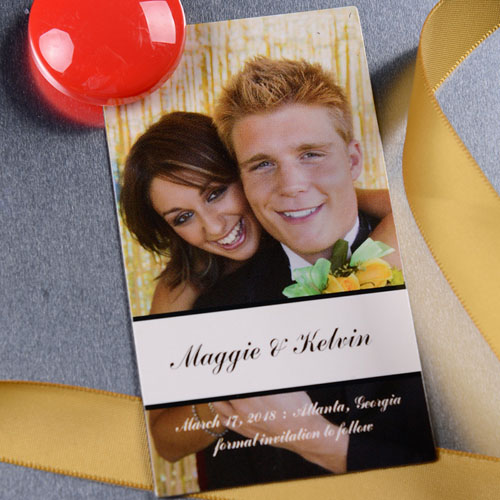 Create Happily Together Save The Date Magnet Photo 2x3.5 Card Size Magnet