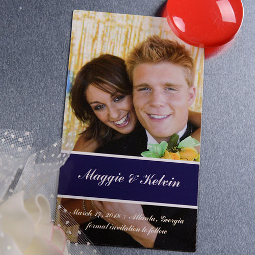 Create Blue Happily Together Save The Date Photo 2x3.5 Card Size Magnet