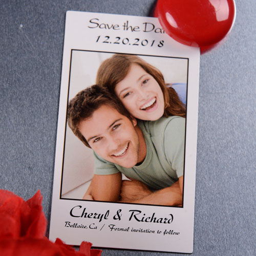 Create White Save The Date Photo 2x3.5 Card Size Magnet
