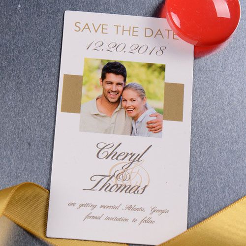 Timeless Gold Save the Date Photo 2x3.5 Magnet