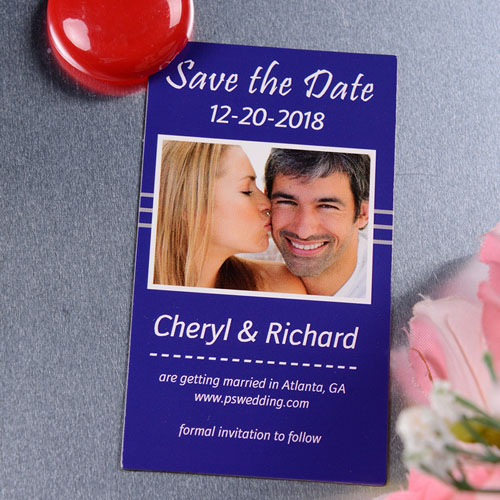 Create Blue Season Save The Date Photo 2x3.5 Card Size Magnet