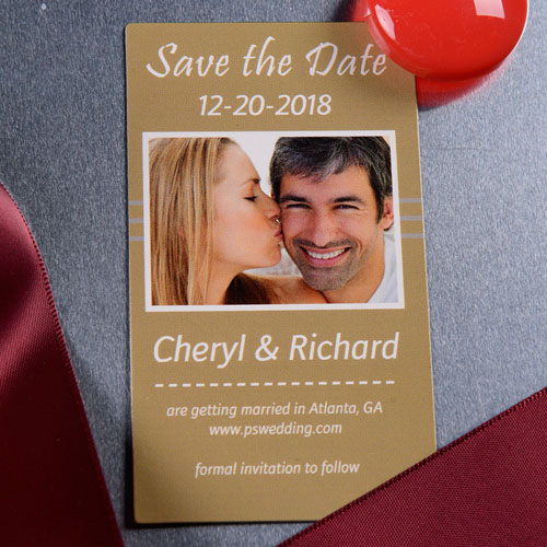 2x3.5 Our Season Save the Date Magnet, Timeless Gold