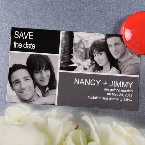 Create Black Grey Save The Date Photo 2x3.5 Card Size Magnet