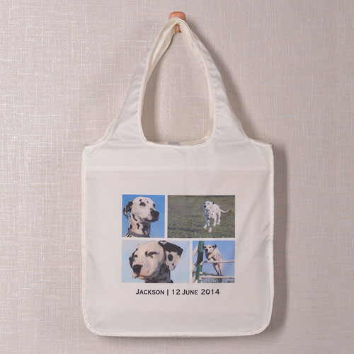 Personalized 4 Collage Folded Shopper Bag, Contemporary