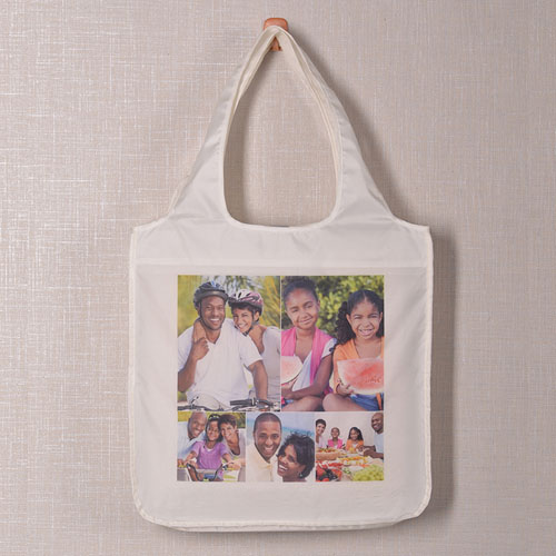 Personalized 5 Collage Folded Shopper Bag, Classic