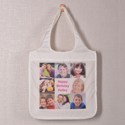 Personalized 8 Collage Folded Shopper Bag, Classic