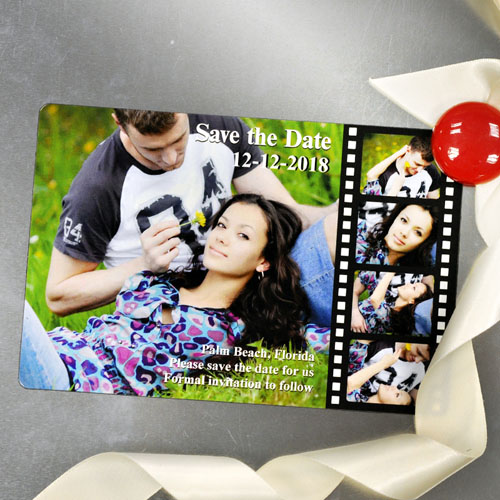 Personalized Fridge 4x6 Large Filmstrip Fun Save The Date Magnet