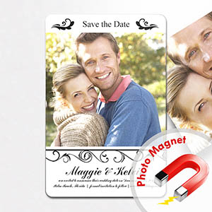 Personalized Fridge 4x6 Large Simply Elegance Collage Save The Date Magnet