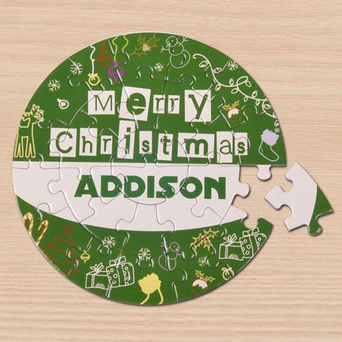 Merry Christmas Green Round 7 1/4