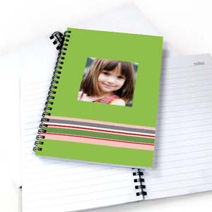 Create Your Own Colorful Stripes Notebook, Green