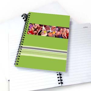 Create Your Own Three Collages Colorful Stripes Notebook, Green