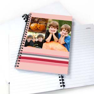 Create Your Own Three Collages Colorful Stripes Notebook, Pink