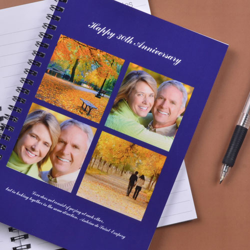 Create Your Own Blue Four Collage Two Title Notebook