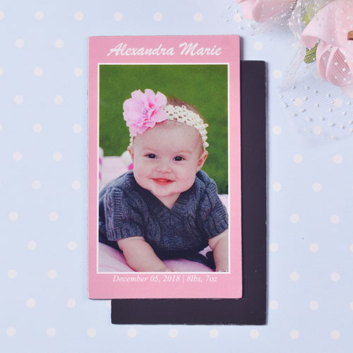 Baby Pink Personalized Photo 2x3.5 Card Size Magnet
