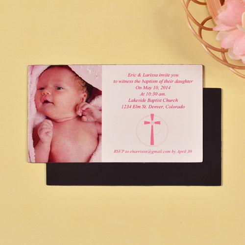 DIY Girl Baptism Photo 2x3.5 Card Size Magnet