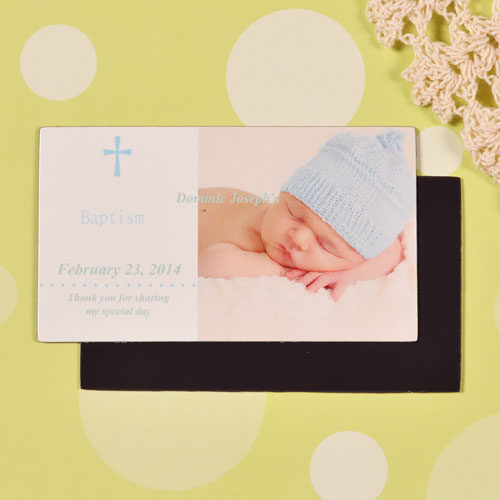 DIY Baby's Christening Blue 2x3.5 Card Size Photo Magnet