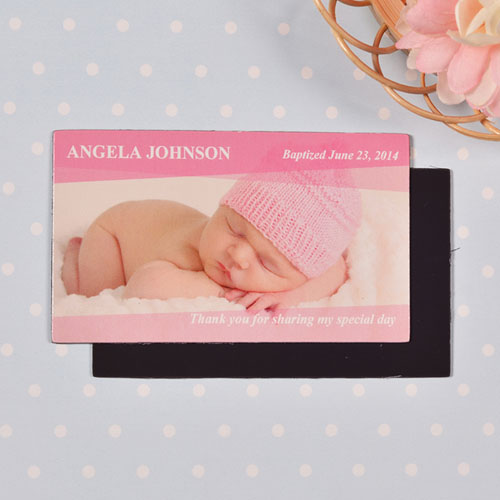 DIY 2x3.5 Card Size Baby Pink Landscape Photo Magnet