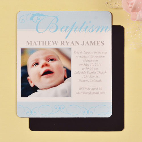 Print 3.5X4 First Cross Baby Boy Baptism Photo Fridge Magnets