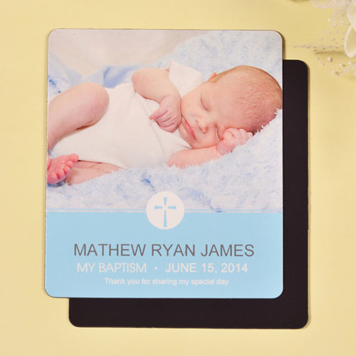 Print 3.5X4 Delicate Blue Baptism Photo Fridge Magnets