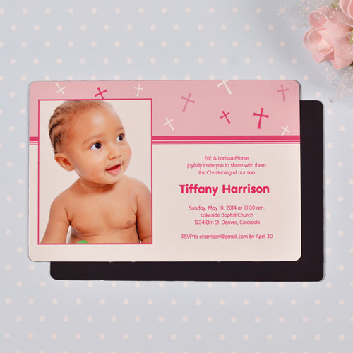 Personalized 4x6 Large Baby Girl Baptism Cross Photo Fridge Magnets