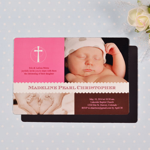 Personalized 4x6 Large Classic Christening Baby Girl Photo Fridge Magnets