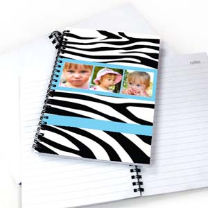 Create Your Own Zebra Pattern Three Collage Notebook, Cool Blue