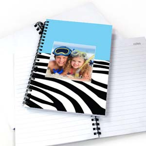 Create Your Own Cool Blue Zebra Pattern Photo Notebook