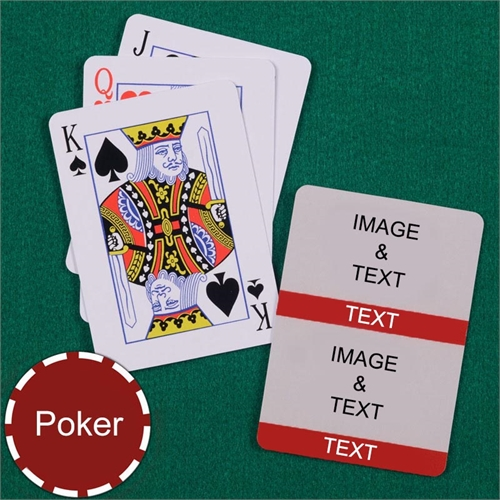 Personalized Poker Size Red Two Collage Photo Playing Cards