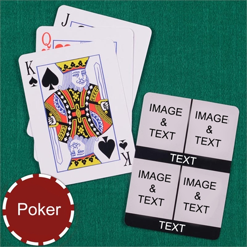 Personalized Poker Size Four White Collage Photo Playing Cards