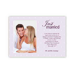 Create Your Own 5X7 Just Got Married Wedding Announcement, Portrait Photo Invitations