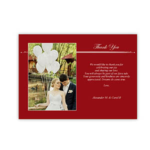 Create Your Own 5X7 Band Of Red Thank You Card, Landscape