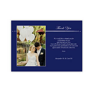 Create Your Own 5X7 Band Of Blue Thank You Card, Landscape