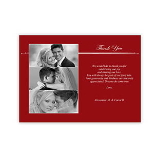 Create Your Own 5X7 Three Collage Band Of Red Thank You Card
