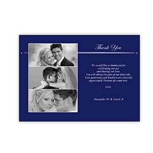 Create Your Own 5X7 Three Collage Band Of Blue Thank You Card