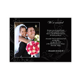 Create Your Own 5X7 Vintage Black Wedding Announcement Cards