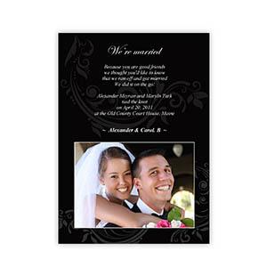 Create Your Own 5X7 Vintage Black Wedding Announcement, Portrait Cards