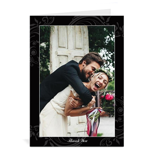 Custom Printed Vintage Black Wedding Announcement Greeting Card