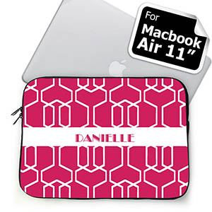 Custom Name Hot Pink Trellis MacBook Air 11 Sleeve