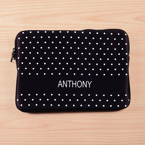 Personalized Name Black Polka Dots Macbook Air 11 Sleeve