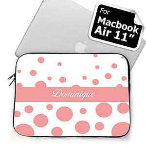 Custom Name Pink Retro Circles Macbook Air 11 Sleeve