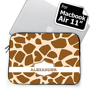 Custom Name Brown Giraffe Pattern MacBook Air 11 Sleeve