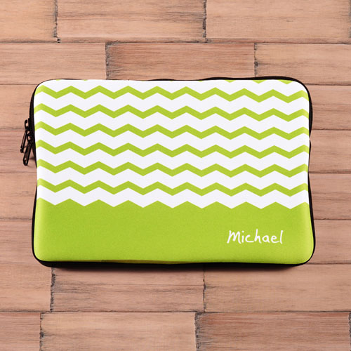 Personalized Name Green Chevron Macbook Air 11 Sleeve