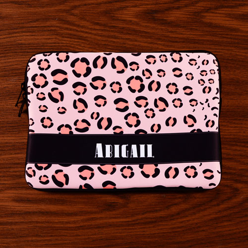 Personalized Initial Pink Leopard Pattern Macbook Air 11 Sleeve