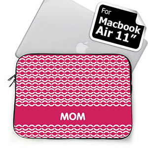 Custom Initials Hot Pink Chain MacBook Air 11 Sleeve