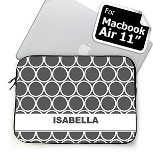 Custom Name Grey Hoopla Macbook Air 11 Sleeve