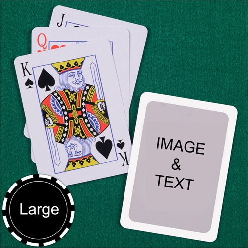 Personalized Large Size Standard Index White Border Playing Cards