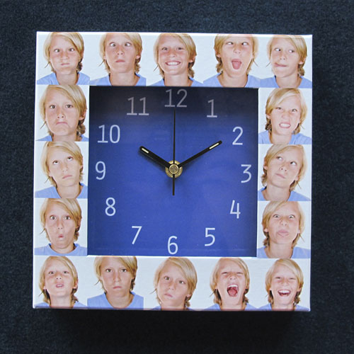 16 Collage Blue Face Personalized Clock