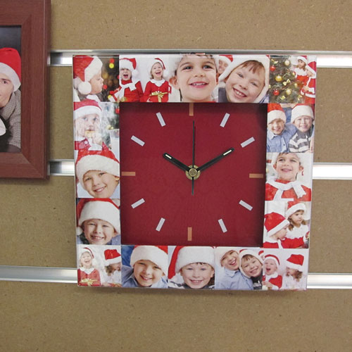 16 Collage Red Face Personalized Clock