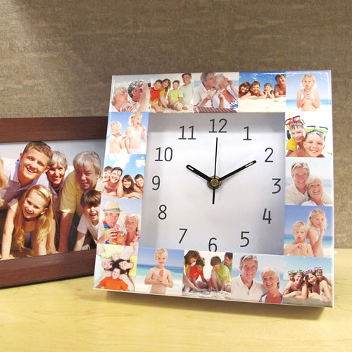 16 Collage White Large Face Photo Personalized Clock