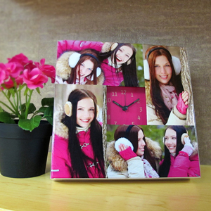 4 Collage Hot Pink Face Personalized Clock